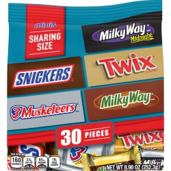 SNICKERS, TWIX, 3 MUSKETEERS & MILKY WAY Minis Size Candy Bars Assorted Variety Mix, 8.9 Ounce Bag