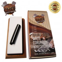 Sharpening Whetstone 2 Side Grit – 1000/3000 Grit – Best Sharpening Stone with Non-Slip Bamboo Base and Angle Guide by Brown Chef