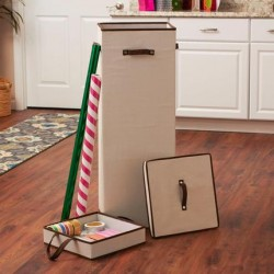 Tall Wrapping Paper Organizer Storage Box with Lift-Out Ribbon Tray