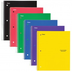 Five Star 5 Subject College Ruled Wirebound Notebook, 11″ x 8 1/2″, Color Choice Will Vary (08969)