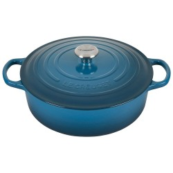 Le Creuset 6.75 Qt. Round Wide Signature Dutch Oven with Stainless Steel Knob | Deep Teal